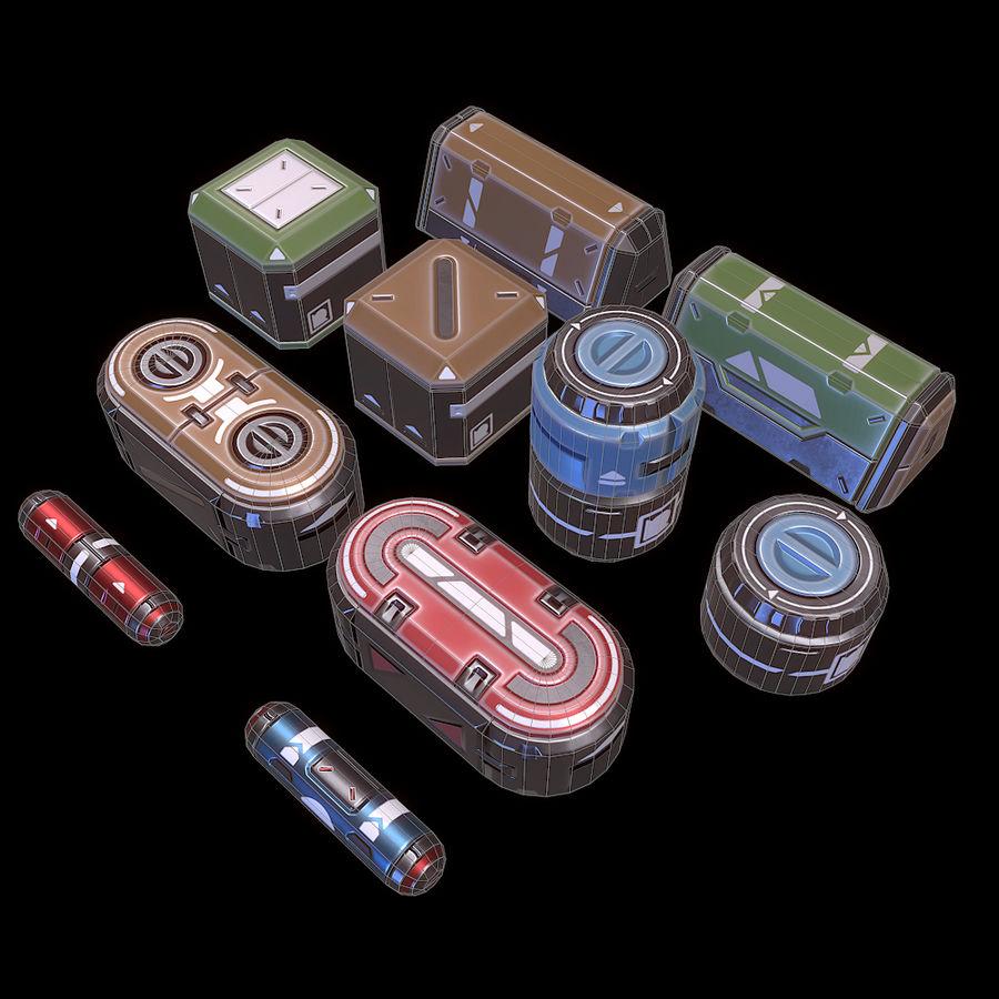 Set di oggetti di scena fantascientifici - Gioco pronto royalty-free 3d model - Preview no. 3
