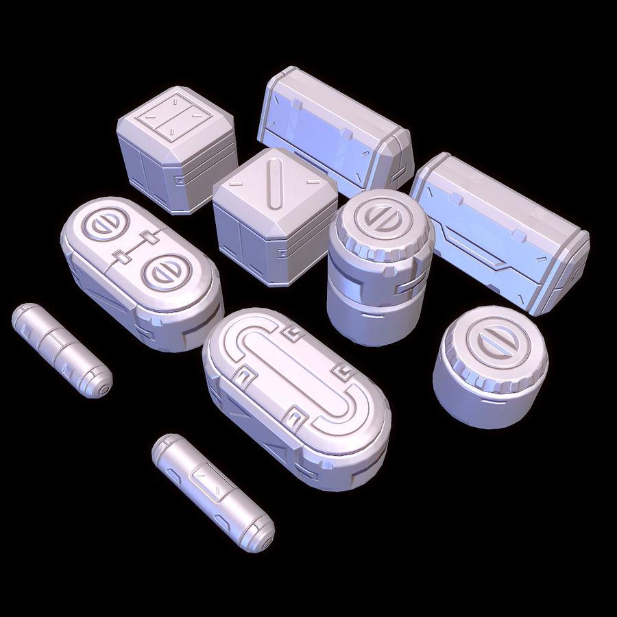 Set di oggetti di scena fantascientifici - Gioco pronto royalty-free 3d model - Preview no. 4