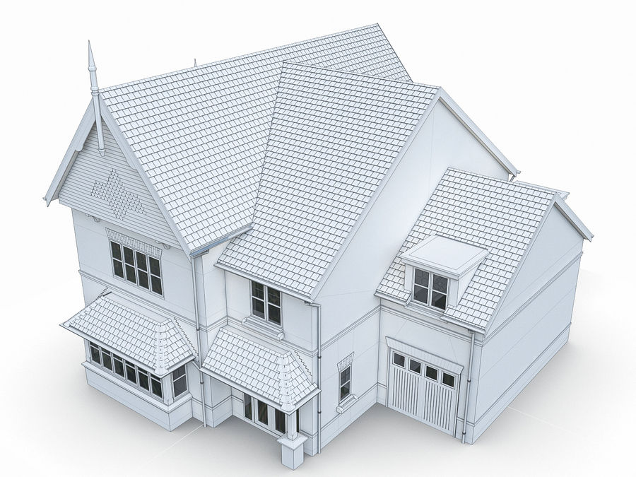Cottage House royalty-free 3d model - Preview no. 8