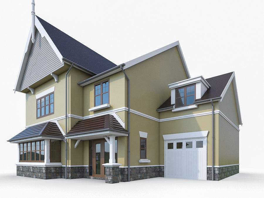 Cottage House royalty-free 3d model - Preview no. 1