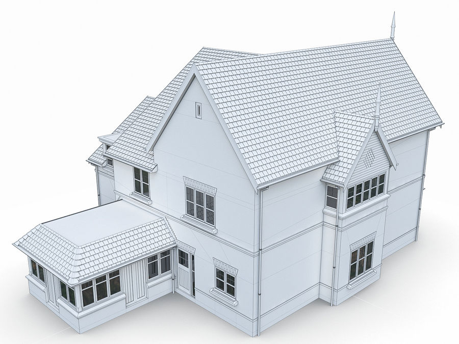 Cottage House royalty-free 3d model - Preview no. 9