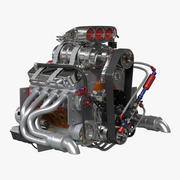 Car Engine with Blower 3d model