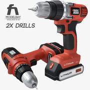 Black and Decker cordless drill collection 3d model