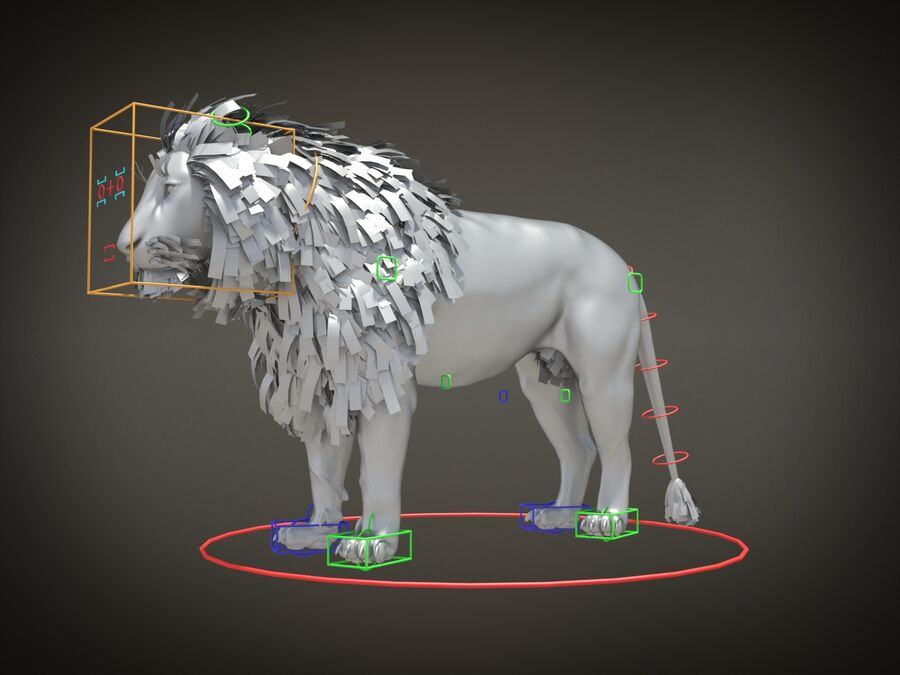 Lion The King Capelli testurizzati royalty-free 3d model - Preview no. 12