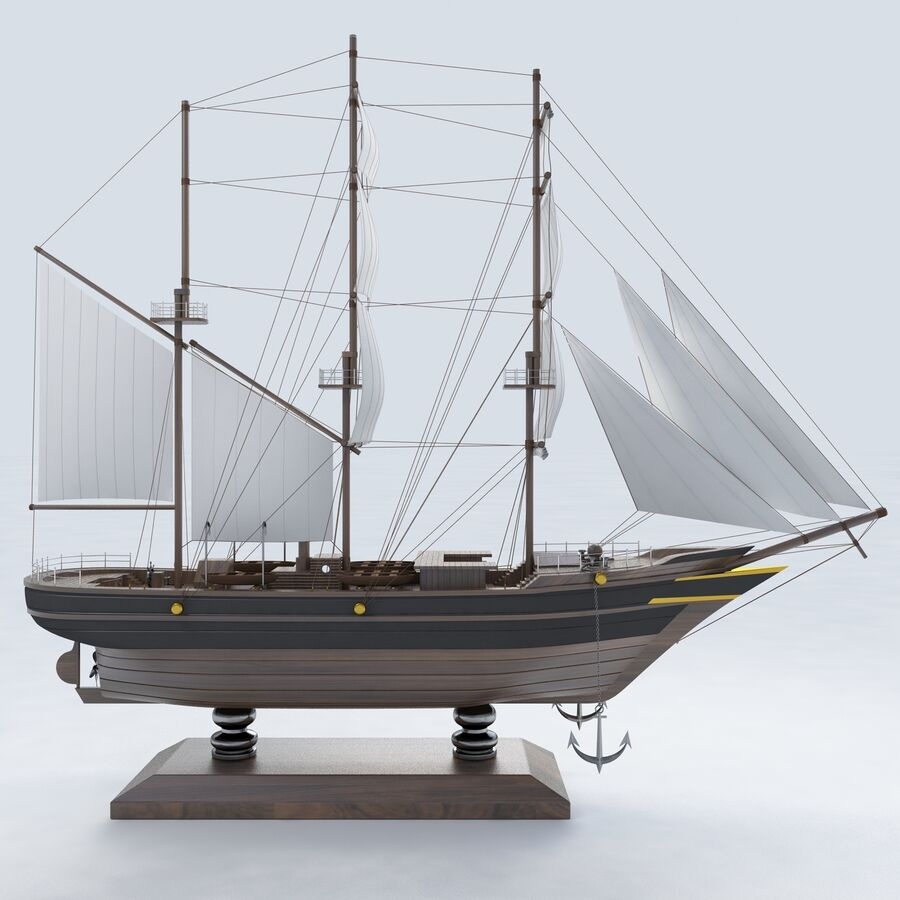 帆船模型 royalty-free 3d model - Preview no. 8