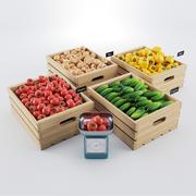 Grönsaker i lådor 3d model