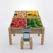 Vegetables On Showcase 3d model