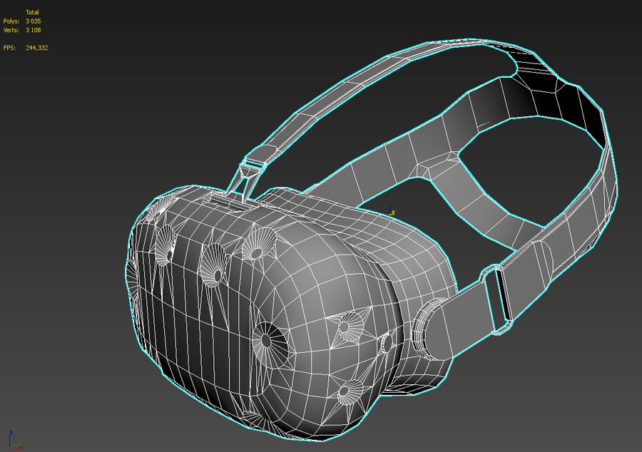 HTC Vive headset lowpoly royalty-free 3d model - Preview no. 6
