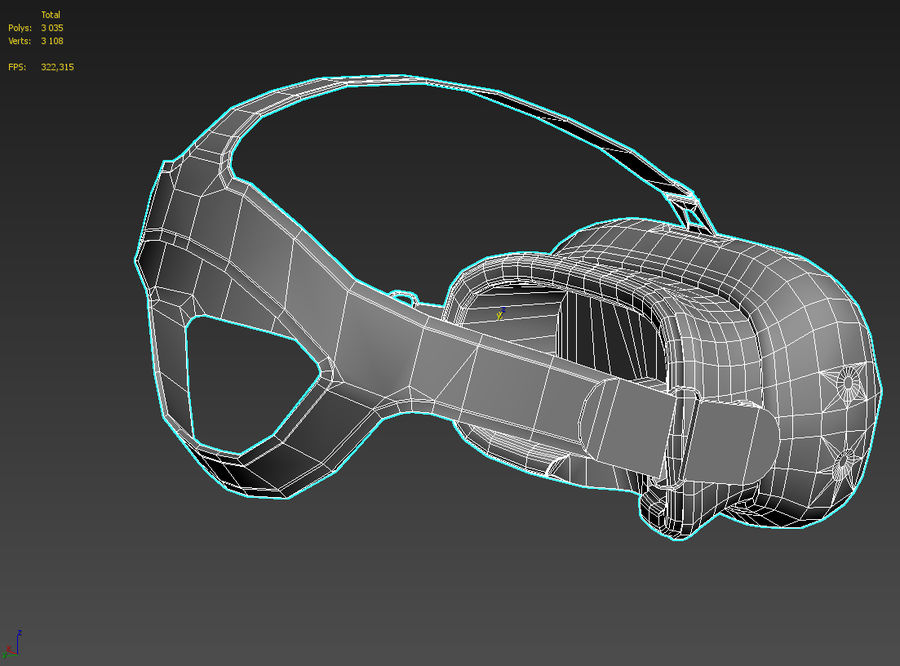 HTC Vive headset lowpoly royalty-free 3d model - Preview no. 7