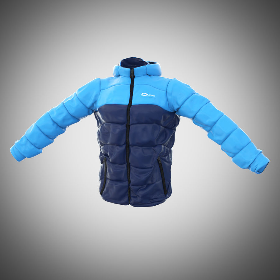 Sports winter jacket royalty-free 3d model - Preview no. 7