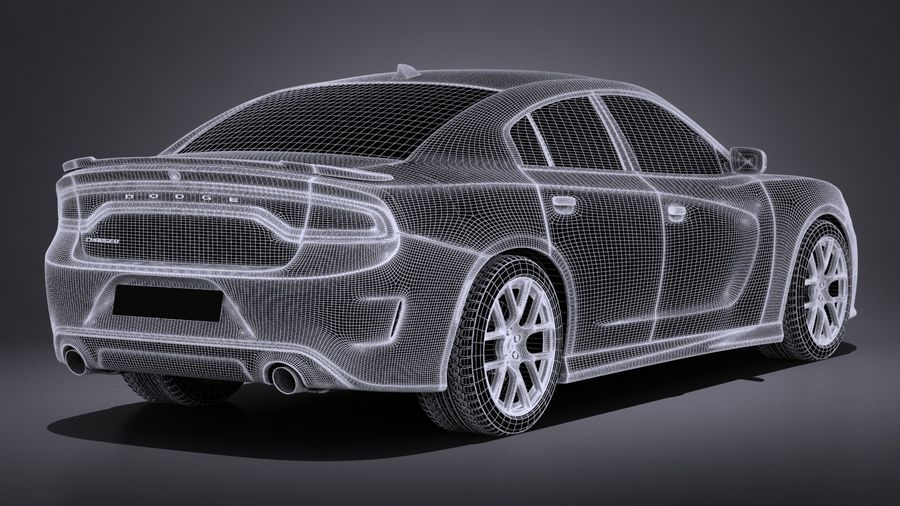 Dodge Charger Daytona 2017 royalty-free 3d model - Preview no. 14