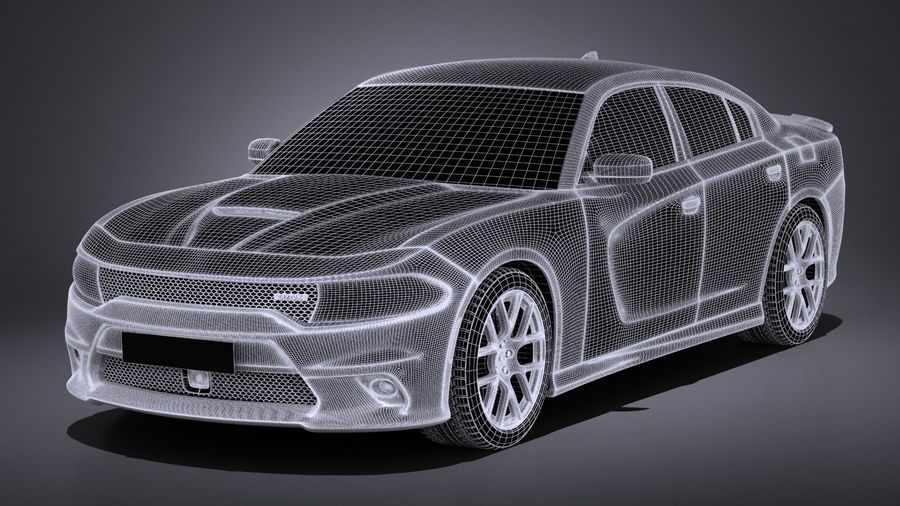 Dodge Charger Daytona 2017 royalty-free 3d model - Preview no. 13