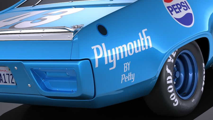 Plymouth Roadrunner NASCAR Richard Petty 1971 royalty-free 3d model - Preview no. 4