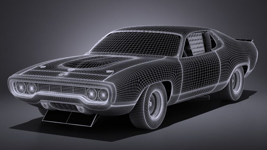 Plymouth Roadrunner NASCAR Richard Petty 1971 royalty-free 3d model - Preview no. 16