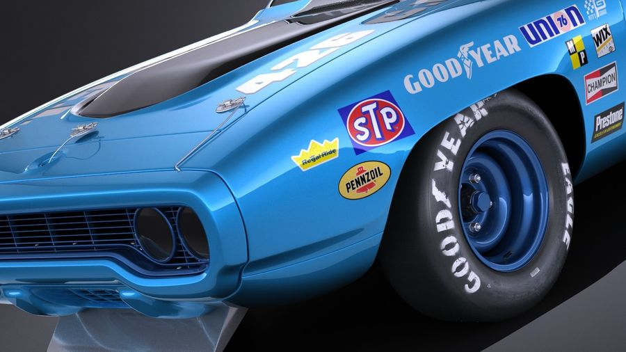 Plymouth Roadrunner NASCAR Richard Petty 1971 royalty-free 3d model - Preview no. 3