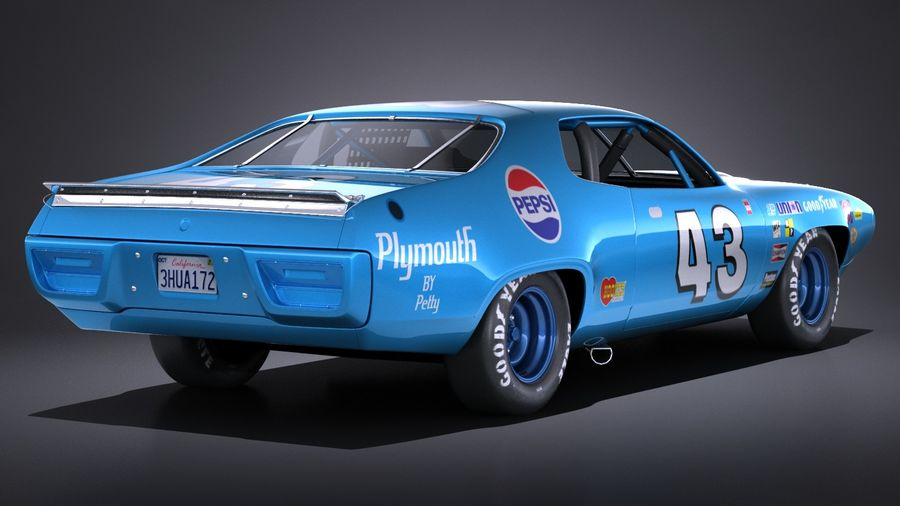 Plymouth Roadrunner NASCAR Richard Petty 1971 royalty-free 3d model - Preview no. 6