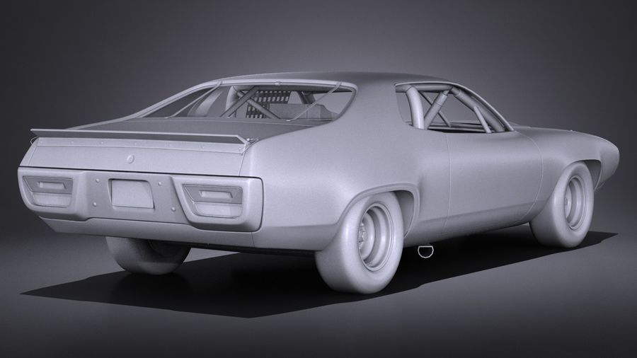 Plymouth Roadrunner NASCAR Richard Petty 1971 royalty-free 3d model - Preview no. 15