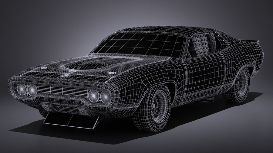 Plymouth Roadrunner NASCAR Richard Petty 1971 royalty-free 3d model - Preview no. 18
