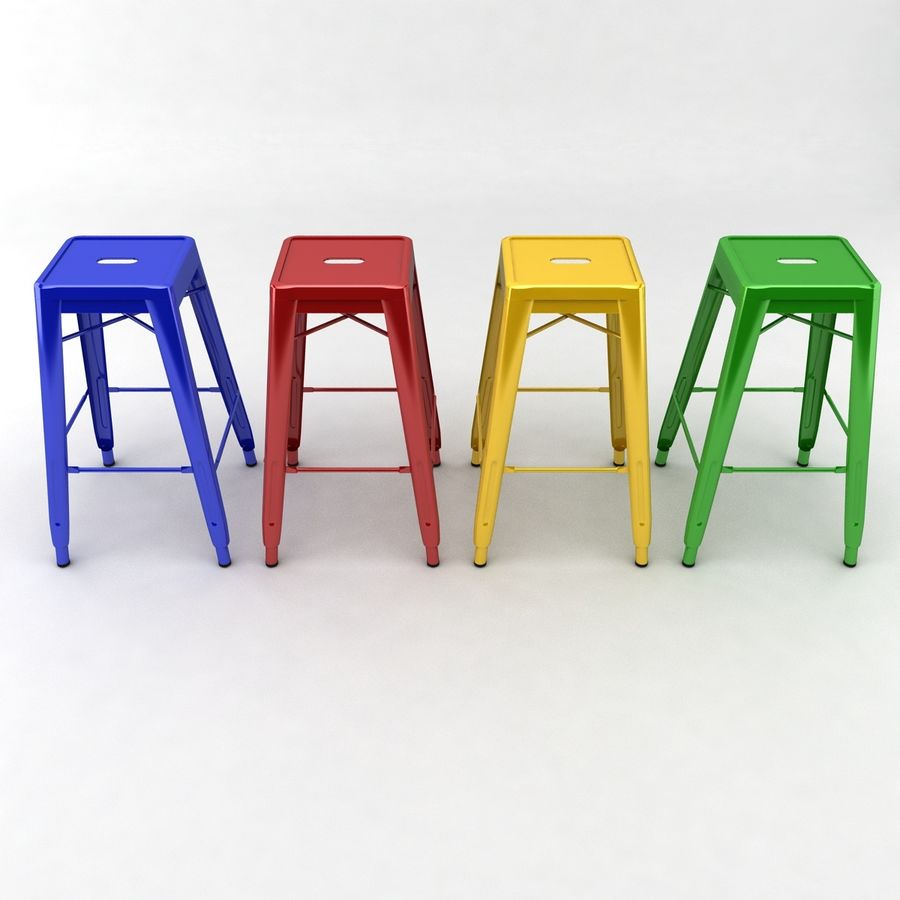 Tall Metal Stool royalty-free 3d model - Preview no. 1