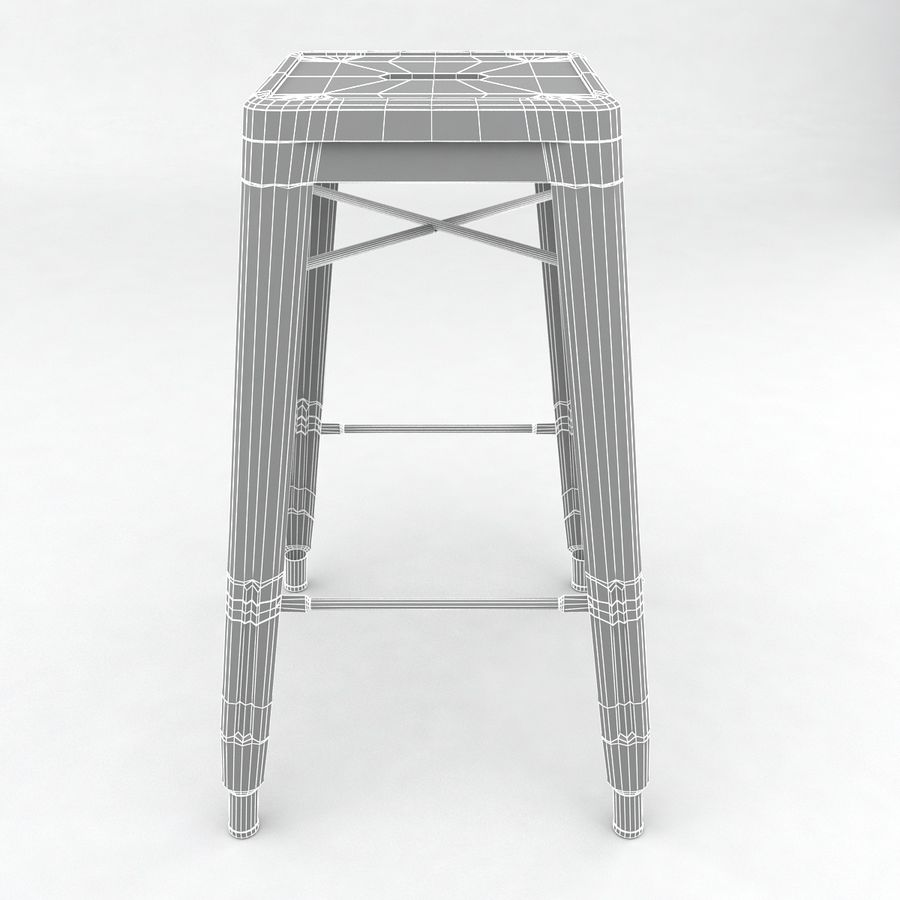 Tall Metal Stool royalty-free 3d model - Preview no. 6