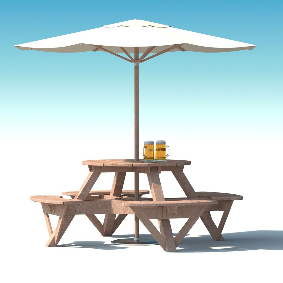 Garden Furniture: exterior Picnic deck Table in grey wood with umbrella, Parasol and Beer for cafe or terrace royalty-free 3d model - Preview no. 1