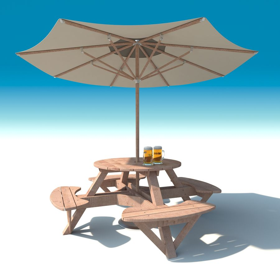 Garden Furniture: exterior Picnic deck Table in grey wood with umbrella, Parasol and Beer for cafe or terrace royalty-free 3d model - Preview no. 2