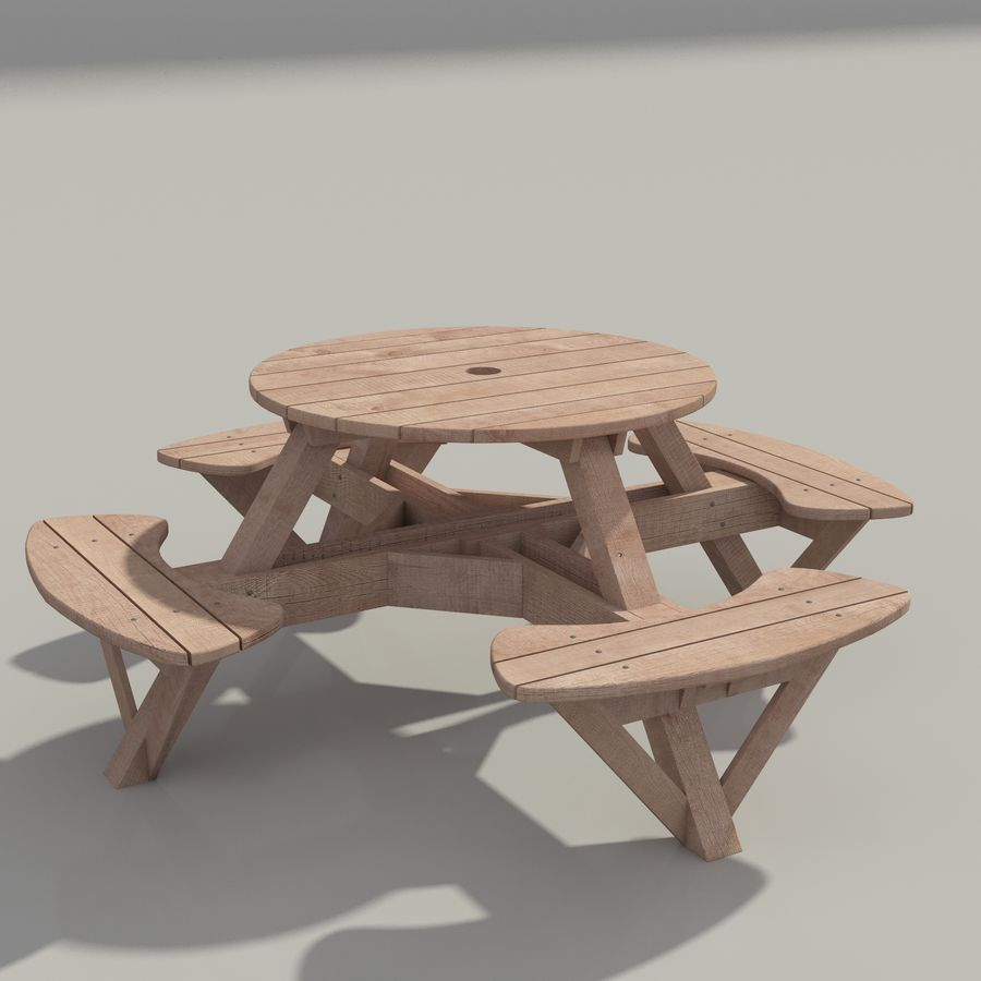 Garden Furniture: exterior Picnic deck Table in grey wood with umbrella, Parasol and Beer for cafe or terrace royalty-free 3d model - Preview no. 7
