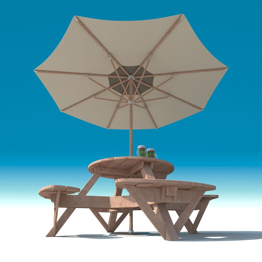 Garden Furniture: exterior Picnic deck Table in grey wood with umbrella, Parasol and Beer for cafe or terrace royalty-free 3d model - Preview no. 3