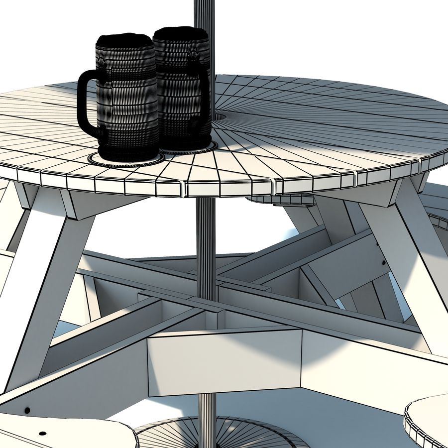 Garden Furniture: exterior Picnic deck Table in grey wood with umbrella, Parasol and Beer for cafe or terrace royalty-free 3d model - Preview no. 11