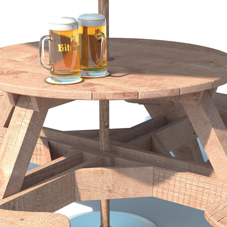 Garden Furniture: exterior Picnic deck Table in grey wood with umbrella, Parasol and Beer for cafe or terrace royalty-free 3d model - Preview no. 5