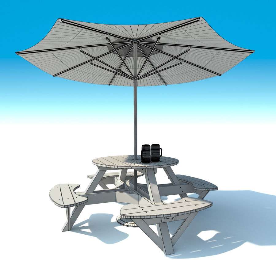 Garden Furniture: exterior Picnic deck Table in grey wood with umbrella, Parasol and Beer for cafe or terrace royalty-free 3d model - Preview no. 10