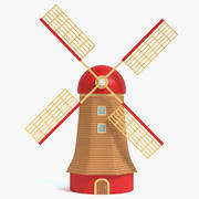 Molino de viento de dibujos animados modelo 3d