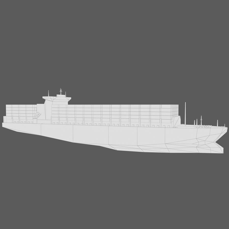 Low Poly Container Ship royalty-free 3d model - Preview no. 7