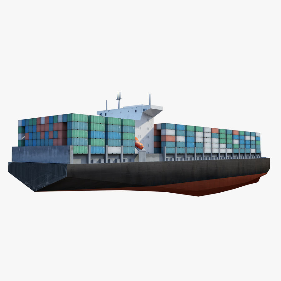 Low Poly Container Ship royalty-free 3d model - Preview no. 4