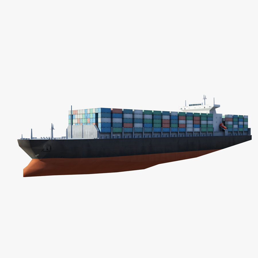 Low Poly Container Ship royalty-free 3d model - Preview no. 6