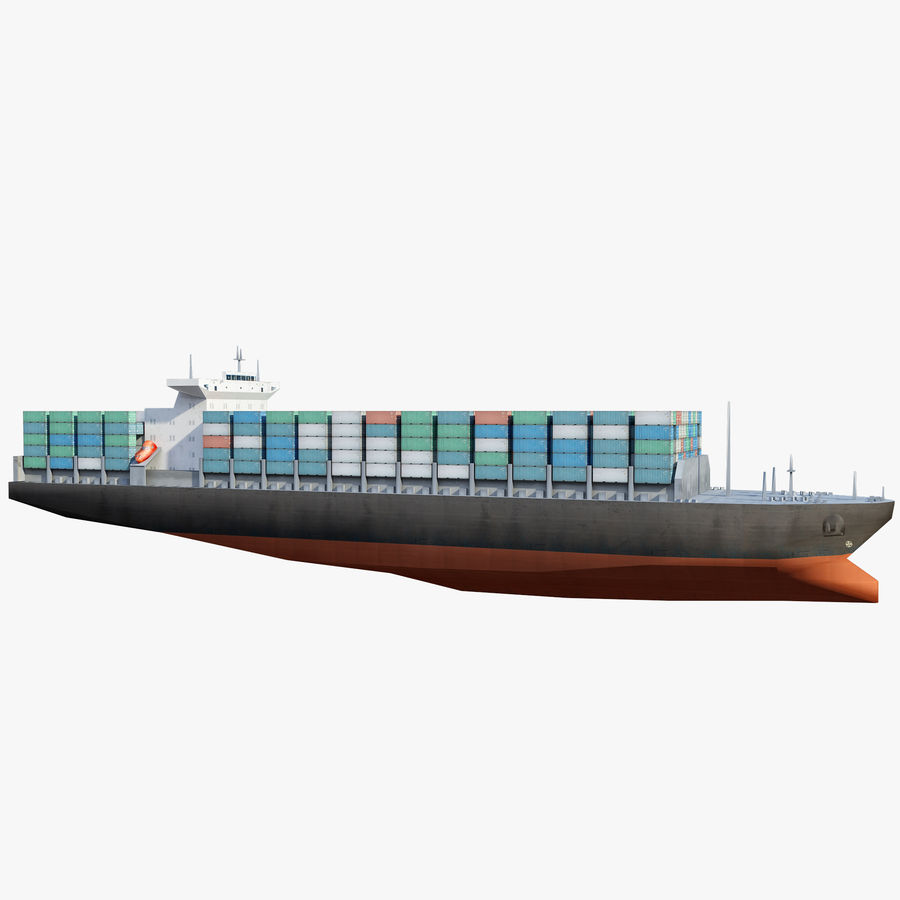 Low Poly Container Ship royalty-free 3d model - Preview no. 1