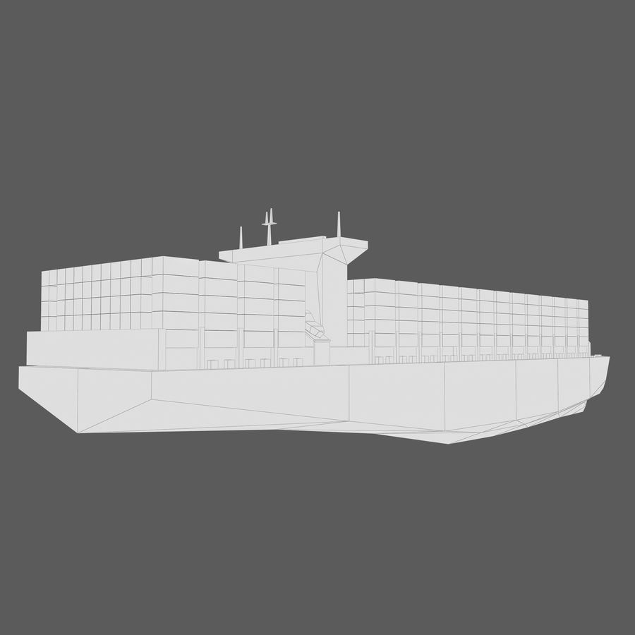 Low Poly Container Ship royalty-free 3d model - Preview no. 10