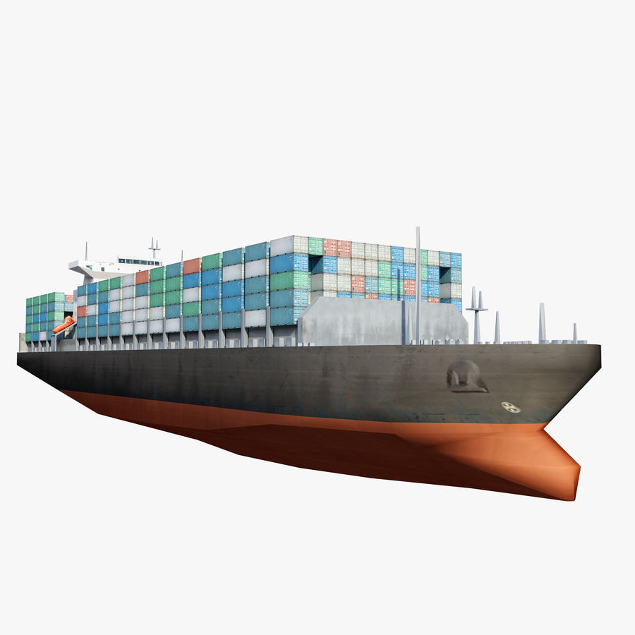 Low Poly Container Ship royalty-free 3d model - Preview no. 3