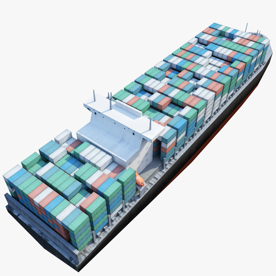 Low Poly Container Ship royalty-free 3d model - Preview no. 5