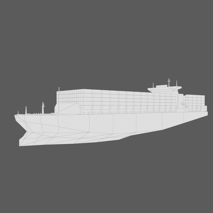 Low Poly Container Ship royalty-free 3d model - Preview no. 12