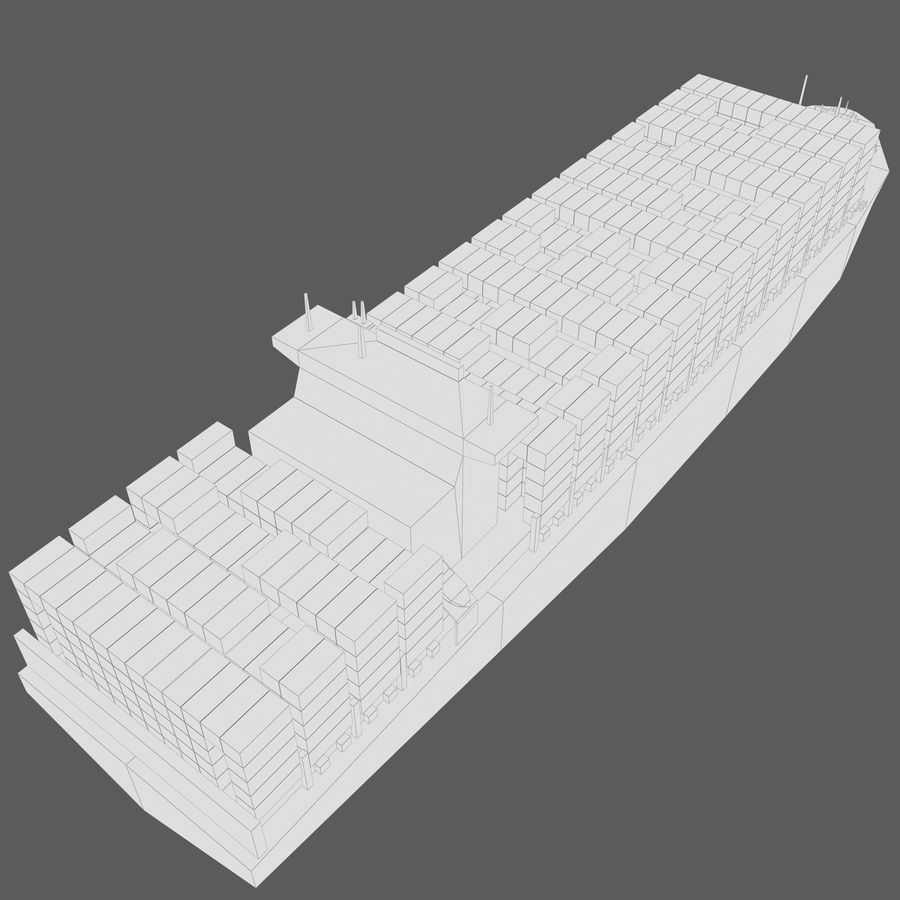 Low Poly Container Ship royalty-free 3d model - Preview no. 11