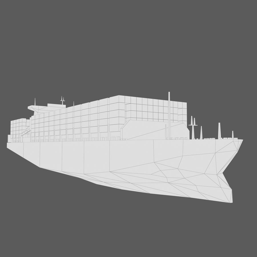 Low Poly Container Ship royalty-free 3d model - Preview no. 9