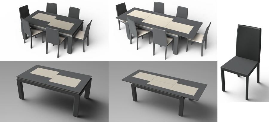 Extendable Modern Table Set royalty-free 3d model - Preview no. 18