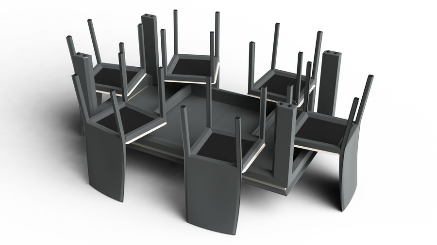 Extendable Modern Table Set royalty-free 3d model - Preview no. 9