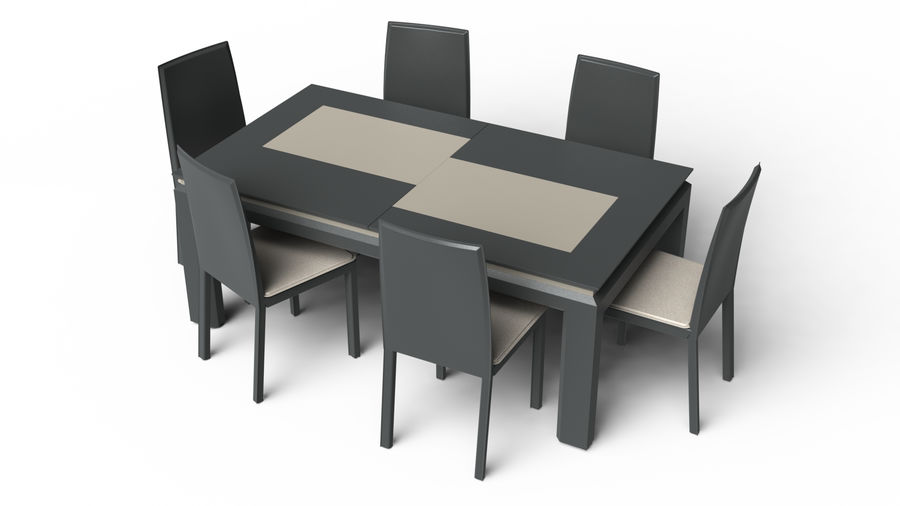 Extendable Modern Table Set royalty-free 3d model - Preview no. 2