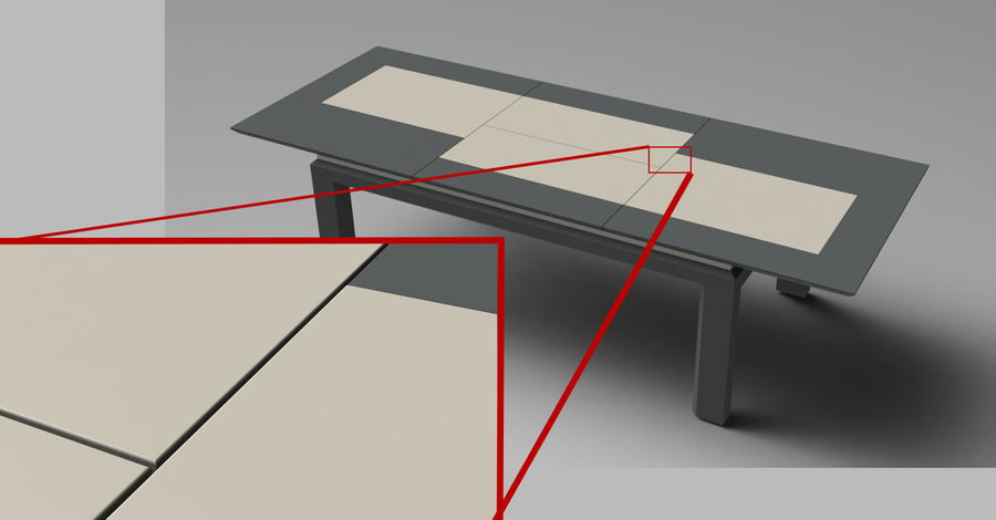 Extendable Modern Table Set royalty-free 3d model - Preview no. 13