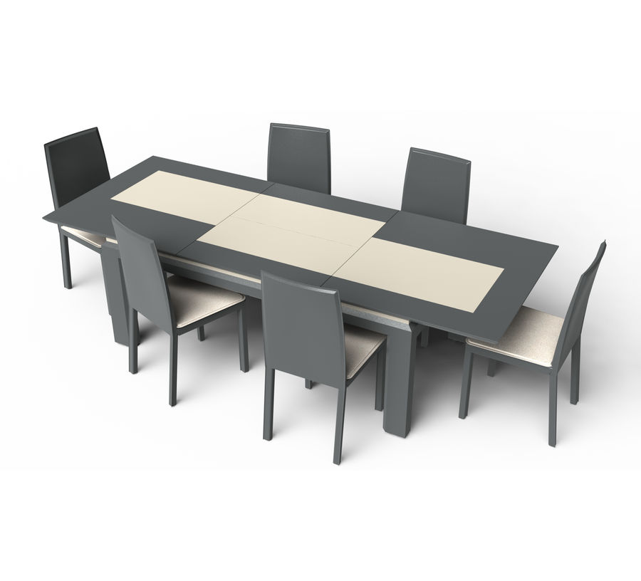 Extendable Modern Table Set royalty-free 3d model - Preview no. 1