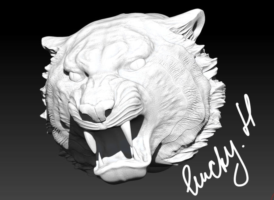 Tigre testa arrabbiata royalty-free 3d model - Preview no. 2