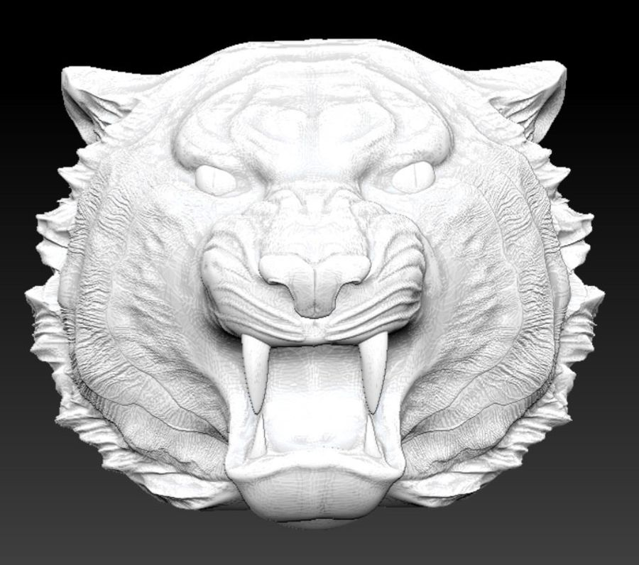 Tigre testa arrabbiata royalty-free 3d model - Preview no. 3