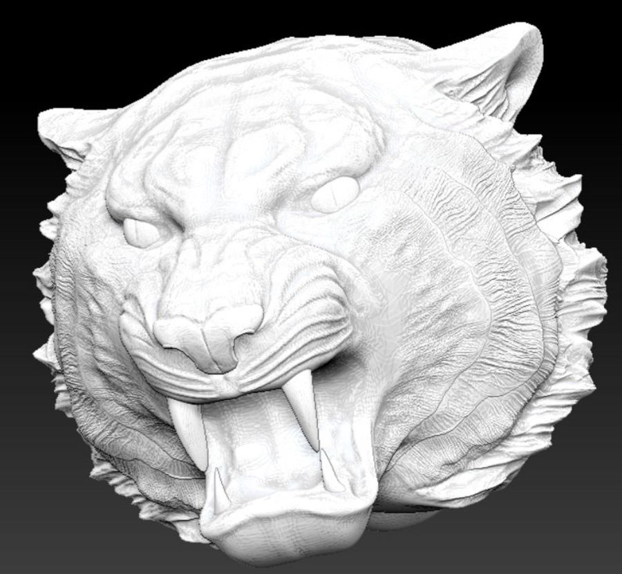 Tigre testa arrabbiata royalty-free 3d model - Preview no. 1